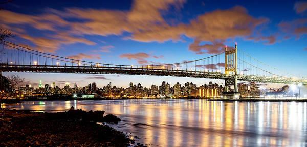 Astoria Bridge Photograph - Triborough Bridge At Night by Vicki Jauron