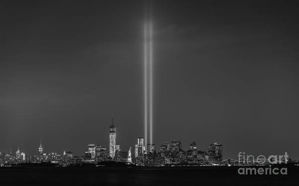 City Scape Photograph - Tribute Lights Bw by Michael Ver Sprill