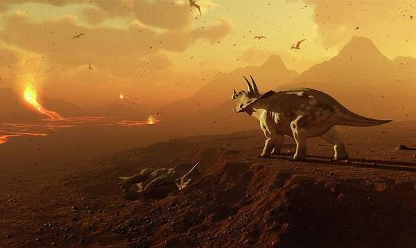 Wall Art - Photograph - Triceratops And Volcanic Landscape by Mark Garlick/science Photo Library