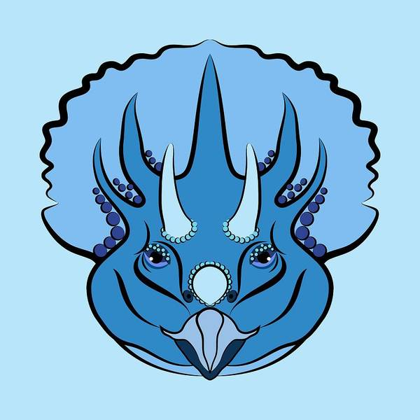 Digital Art - Triceratops Graphic Blue by MM Anderson