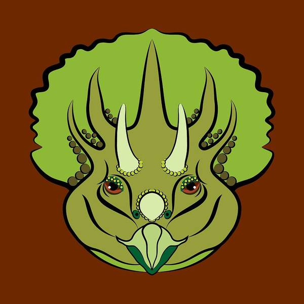 Digital Art - Triceratops Graphic Green by MM Anderson