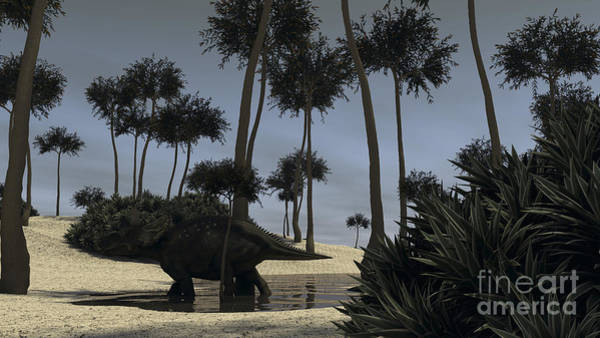 Digital Art - Triceratops Roaming In A Riverbed by Kostyantyn Ivanyshen