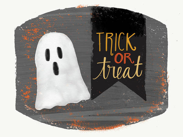 Boo Wall Art - Painting - Trick Or Treat Ghost by Katie Doucette