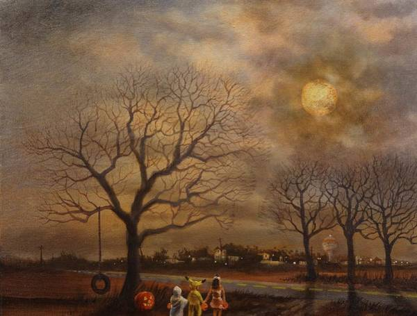 Full Moon Wall Art - Painting - Trick-or-treat by Tom Shropshire