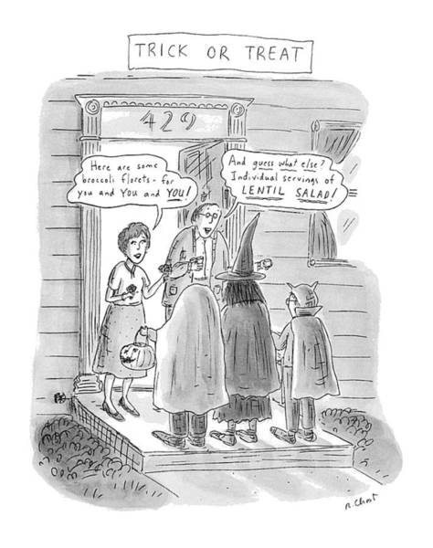 Trick Or Treat Drawing - Trick Or Treat 'here Are Some Broccoli Florets - by Roz Chast