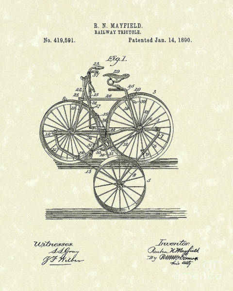 Wall Art - Drawing - Tricycle 1890 Patent Art by Prior Art Design