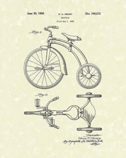 Drawing - Tricycle 1936 Patent Art by Prior Art Design