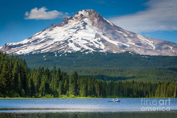 Mount Hood Photograph - Trillium Lake Blue Canoe by Inge Johnsson