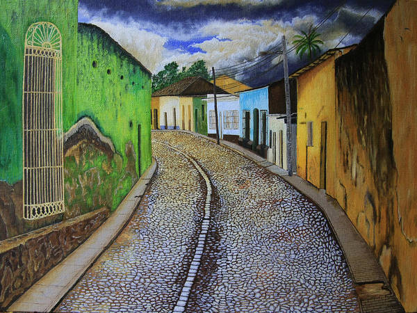 Latino Painting - Trinidad Cuba Original Oil Painting 16x12in by Manuel Lopez