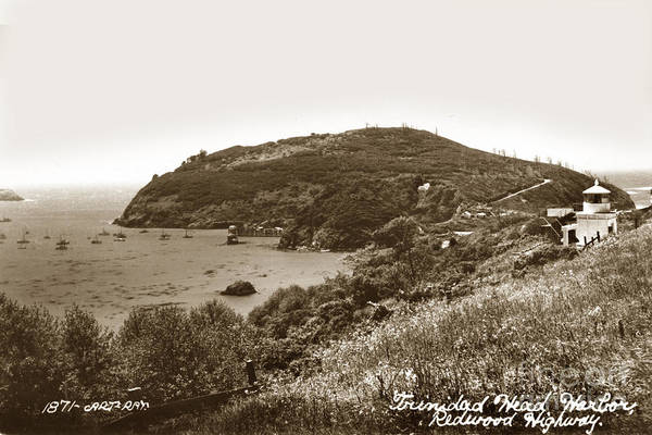 Photograph - Trinidad Memorial Lighthouse And Fog Bell With Trinidad Head Circa 1948 by California Views Archives Mr Pat Hathaway Archives