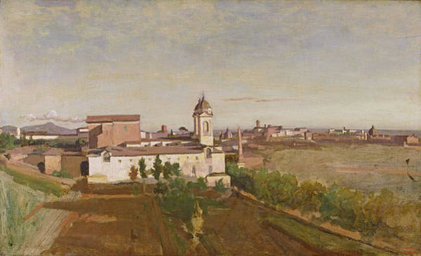 Clock Tower Painting - Trinita Dei Monti From The Villa Medici by Jean Baptiste Camille Corot