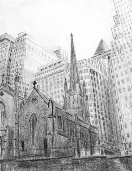Drawing - Trinity Church Sketch by Duane Gordon