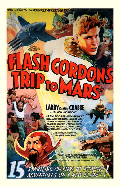 Space Ship Mixed Media - Trip To Mars 1938 by Presented By American Classic Art