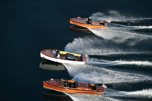 Photograph - Triple Chris Craft by Steven Lapkin