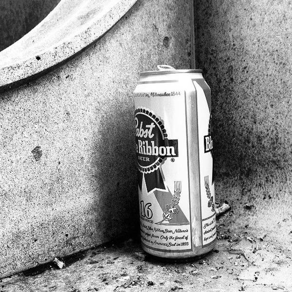 Blackandwhite Wall Art - Photograph - Tripleb. Beer, Butts, Bench. #chicago by Paul Velgos