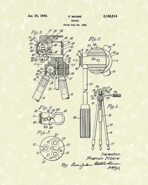 Drawing - Tripod 1940 Patent Art by Prior Art Design