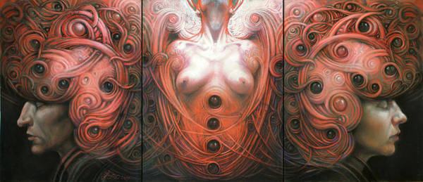 Wall Art - Drawing - Triptych by Graszka Paulska