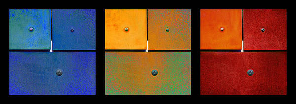 Photograph - Triptych Blue Green Red - Colorful Rust by Menega Sabidussi