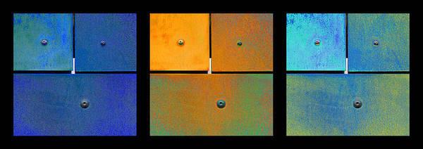 Photograph - Triptych Blue Orange Cyan - Colorful Rust by Menega Sabidussi
