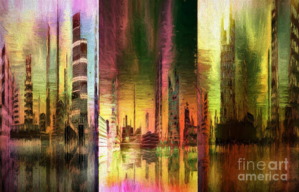 Wall Art - Mixed Media - Triptych Cityscape Mixed Media Painting by Heinz G Mielke