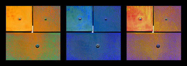 Photograph - Triptych Orange Blue Gold - Colorful Rust by Menega Sabidussi