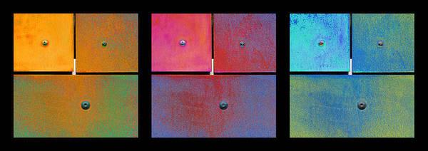 Photograph - Triptych Orange Magenta Cyan - Colorful Rust by Menega Sabidussi