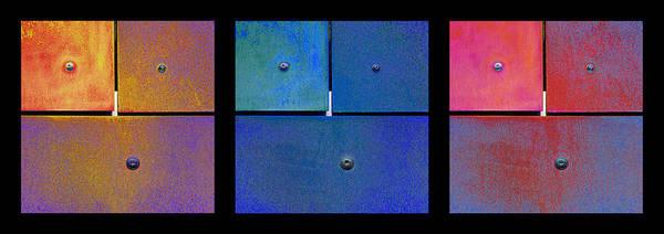 Digital Art - Triptych Gold Blue Magenta - Colorful Rust by Menega Sabidussi