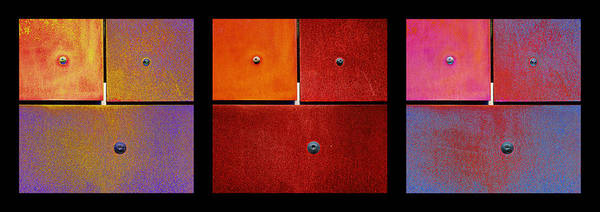 Photograph - Triptych Purple Red Magenta - Colorful Rust by Menega Sabidussi