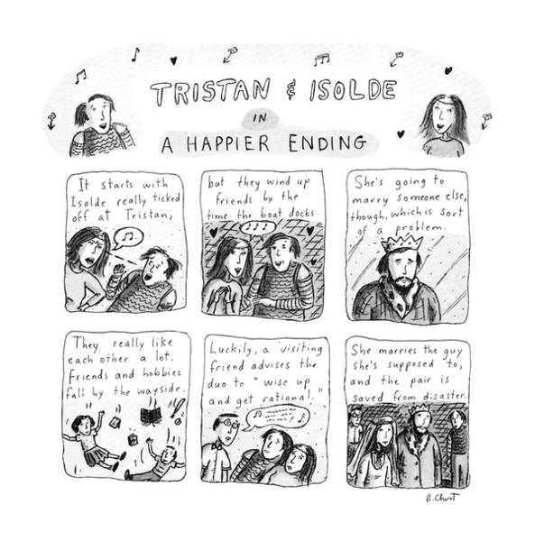 Wall Art - Drawing - Tristan & Isolde In A Happier Ending by Roz Chast