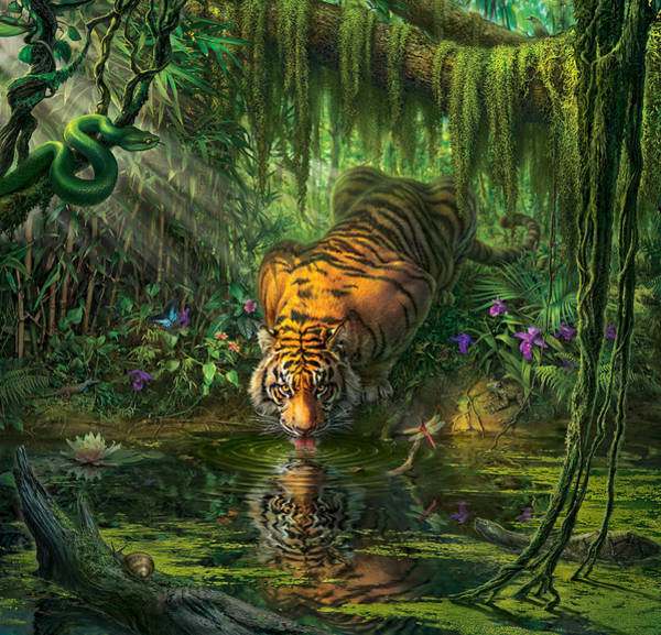 Tiger Digital Art -  Aurora's Garden by Mark Fredrickson