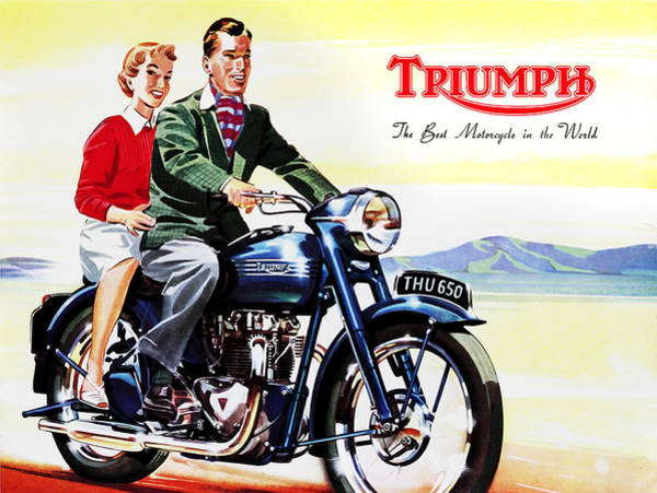 Vintage Poster Wall Art - Photograph - Triumph 1953 by Mark Rogan