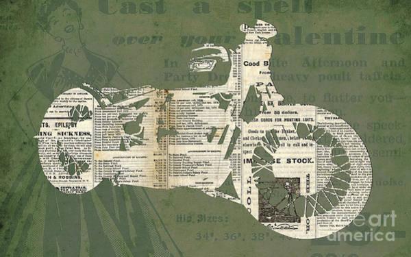 Garage Decor Mixed Media - Triumph Boneville Cafe Racer Newspaper Cut by Drawspots Illustrations