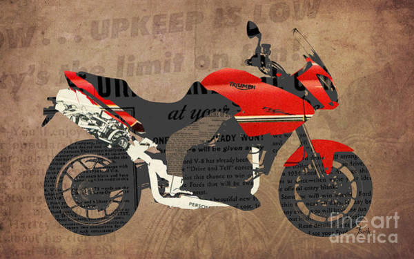 Garage Decor Mixed Media - Triumph Motorcycle And The News by Drawspots Illustrations