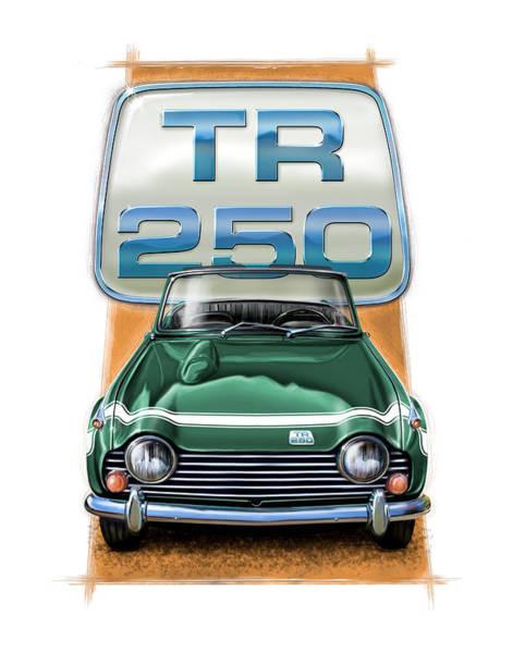 Wire Digital Art - Triumph Tr-250 Sportscar In Dark Green by David Kyte