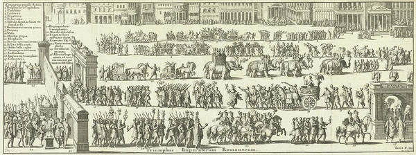 Entry Drawing - Triumphal Procession Over A Square, Jan Luyken by Jan Luyken And Fran?ois Halma