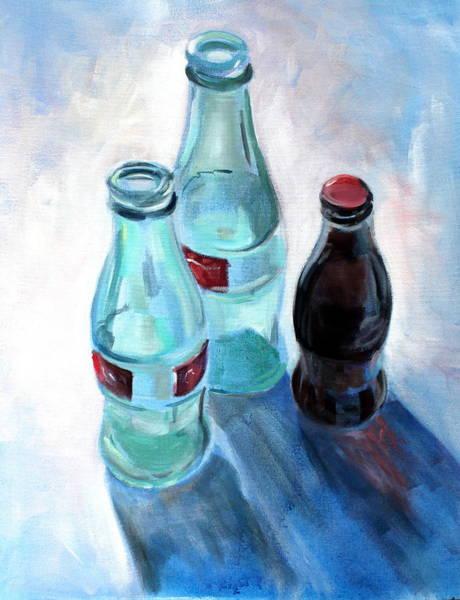 Soda Pop Painting - Trois Cocas S'il Vous Plait by Susan Bradbury