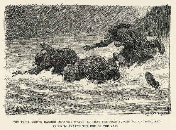 Folklore Drawing - Troll Women Hunting Fish In A Norwegian by Mary Evans Picture Library