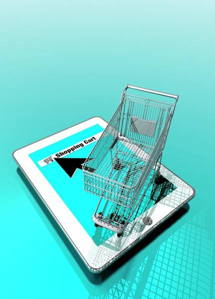 Commercialism Photograph - Trolley And Digital Tablet by Victor Habbick Visions