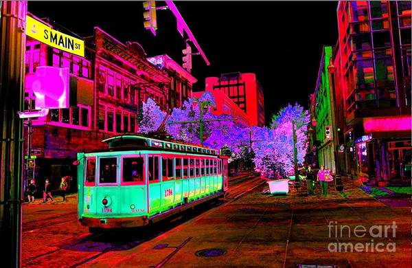 Trolley Night Digital  Art Print