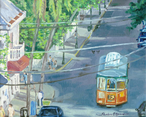 Painting - Trolley Tour Of Key West Florida by Shalece Elynne