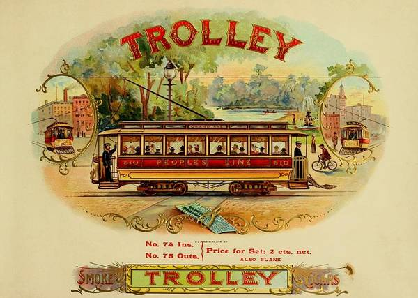 Painting - Trolley Vintage Cigar Advertisement by Movie Poster Prints