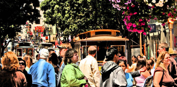 Digital Art - Trolly And People In Frisco by Joseph Coulombe