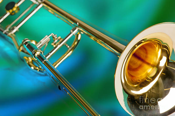 Wall Art - Photograph - Trombone Against Green And Blue In Color 3204.02 by M K Miller