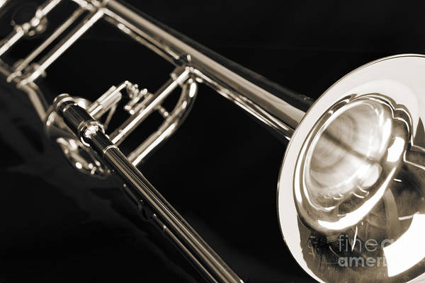 Photograph - Trombone On Black Black And White Sepia Color 3204.03 by M K Miller