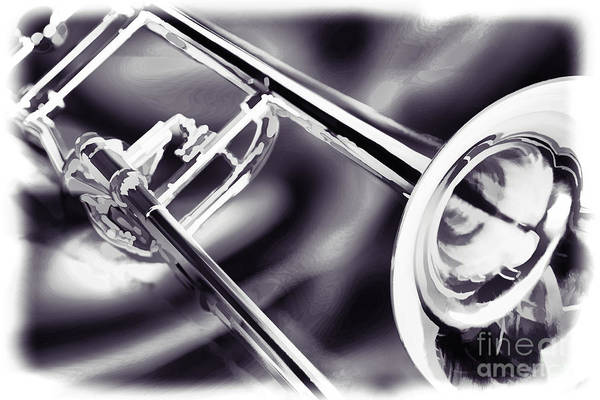 Marching Band Painting - Trombone Painting In Black And White Sepia 3205.01 by M K Miller