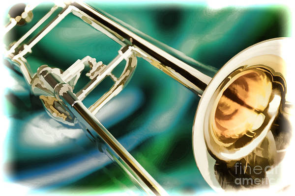 Painting - Trombone Painting In Color 3205.02 by M K Miller