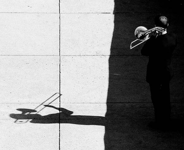 Wall Art - Photograph - Trombone Player by Jian Wang