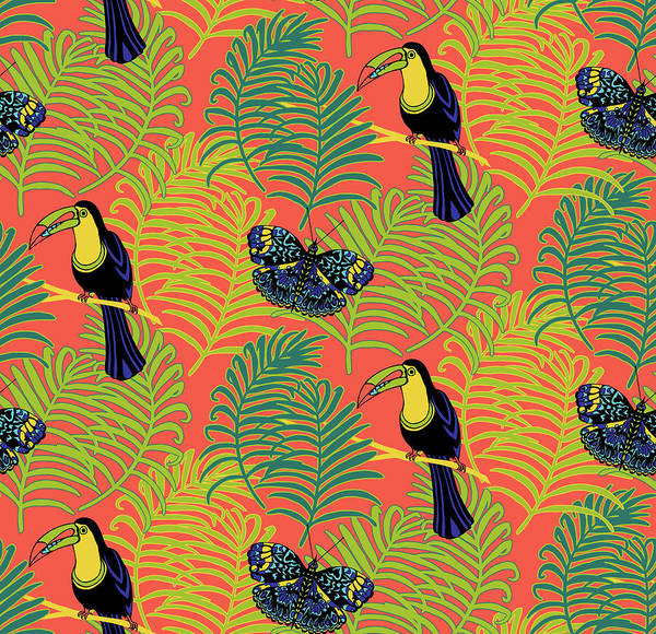 Wall Art - Painting - Tropcial Vector Collection Toucan And Butterfly by MGL Meiklejohn Graphics Licensing