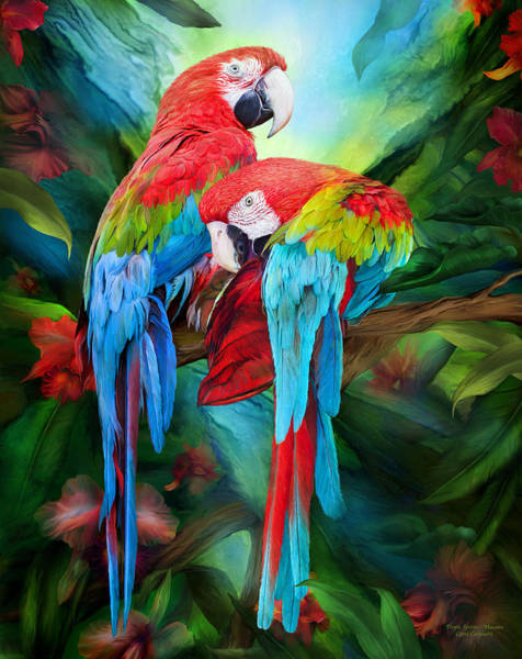 Wall Art - Mixed Media - Tropic Spirits - Macaws by Carol Cavalaris