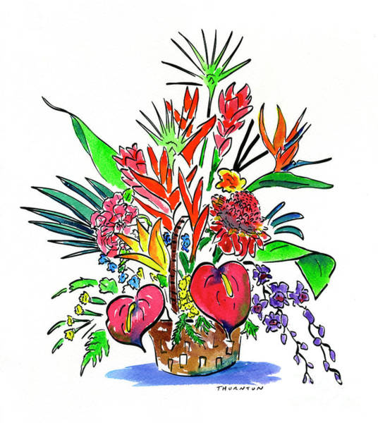 Hibiscus Flower Painting - Tropical Basket by Diane Thornton
